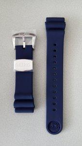 Seiko Z22 blauwe zacht silcon rubberen band (sluiting zilverkleur)