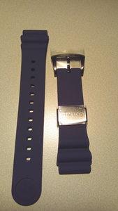 Seiko Z22 blauwe zacht silcon rubberen band (sluiting zwart)